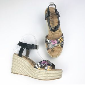 Sam Edelman | Black Floral Espadrilles Sandals 9